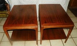 Pair of Walnut Mid Century End Tables / Side Tables by Lane  (T409) - $599.00