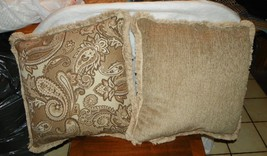 Pair of Beige Brown Tan Print Pillows  20 x 20 - $59.95