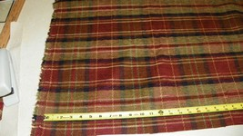 Green Burgundy Black Plaid Print Upholstery Fabric Remnant  F1322 - $26.95
