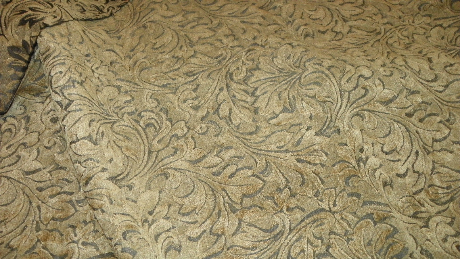 Taupe Beige  Celadon Cut Velvet Upholstery Fabric Remnant  F1223