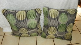 Pair of Green Yellow Black Abstract Print Pillows  20 x 20 - $59.95