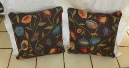 Pair of Brown Gold Blue Flower Print Pillows  20 x 20 - $59.95