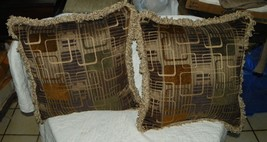 Pair of Beige Brown Gold Abstract Print Chenille Throw Pillows - $59.95