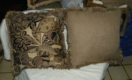 Pair of Beige Tan Black Abstract Leaf Print Chenille Throw Pillows - $59.95