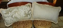 Pair of Cream Beige Leaf Print Throw Pillows - $59.95