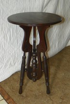 Round Solid Walnut Carved Side Table / Plant Stand  (PS139) - $299.00
