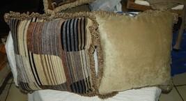 Pair of Beige Brown Black Abstract Print Velvet Throw Pillows - $59.95
