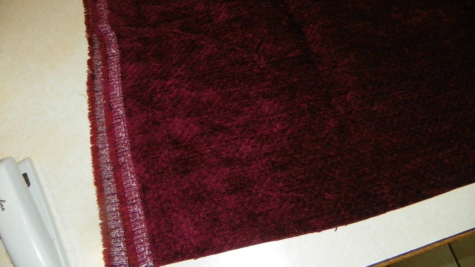Burgundy Diamond Print Chenille Upholstery Fabric  1 Yard  R406