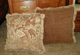 Pair of Brown Beige Tan Velvet Print Throw Pillows - $59.95