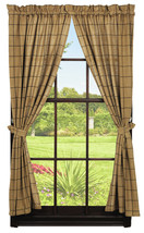 Olivia's Heartland country primitive Burlap Check Tan Black Panel curtains 72x63 - $58.95