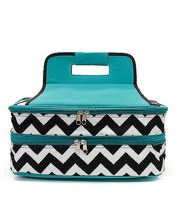 AQUA BLUE CHEVRON PRINT INSULATED CASSEROLE CAR... - $39.95