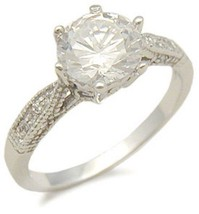 WOMEN'S STERLING SILVER 2 CT ROUND CUT CZ ENGAGEMENT RING - SIZE 6 (LAST... - $24.49