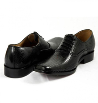 Mens Hand Made Dragon Skin Luxury Formal Black Leather Shoes image 1
