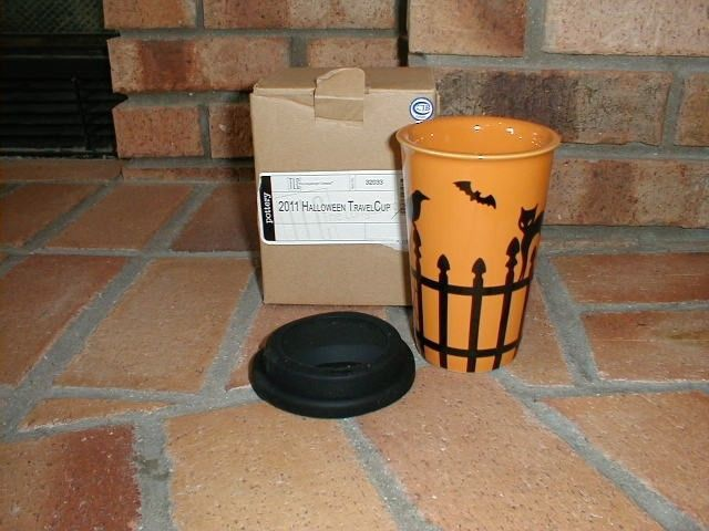 Primary image for Longaberger Travel Cup / Mug Pottery Stoneware Halloween Black Orange New In Box