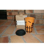 Longaberger Travel Cup / Mug Pottery Stoneware Halloween Black Orange Ne... - $11.39