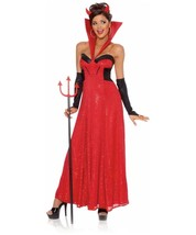 Red Sexy HOLLYWOOD DEVIL Womens Halloween Costume S (4-6) Dress Horns Gl... - $14.95