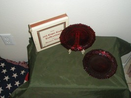 2 Plates Avon 1876 Cape Cod Desert Plates Ruby Red Glass Holiday Boxed - $58.41