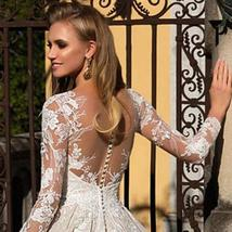 Long Sleeve Appliques Lace A-line Button Up Back Floor Length Princess Wedding G image 4