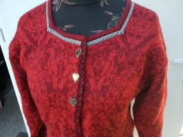 Oleana Norway wool cardigan Red sweater M Norwegian birds / Heart Buttons - $232.65