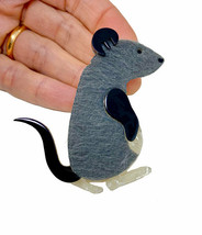 """2.5"""" Tall Large Acrylic and Faux Fur Brooch Pin Gray Furry Rat Mouse Animal Love - $17.58"""