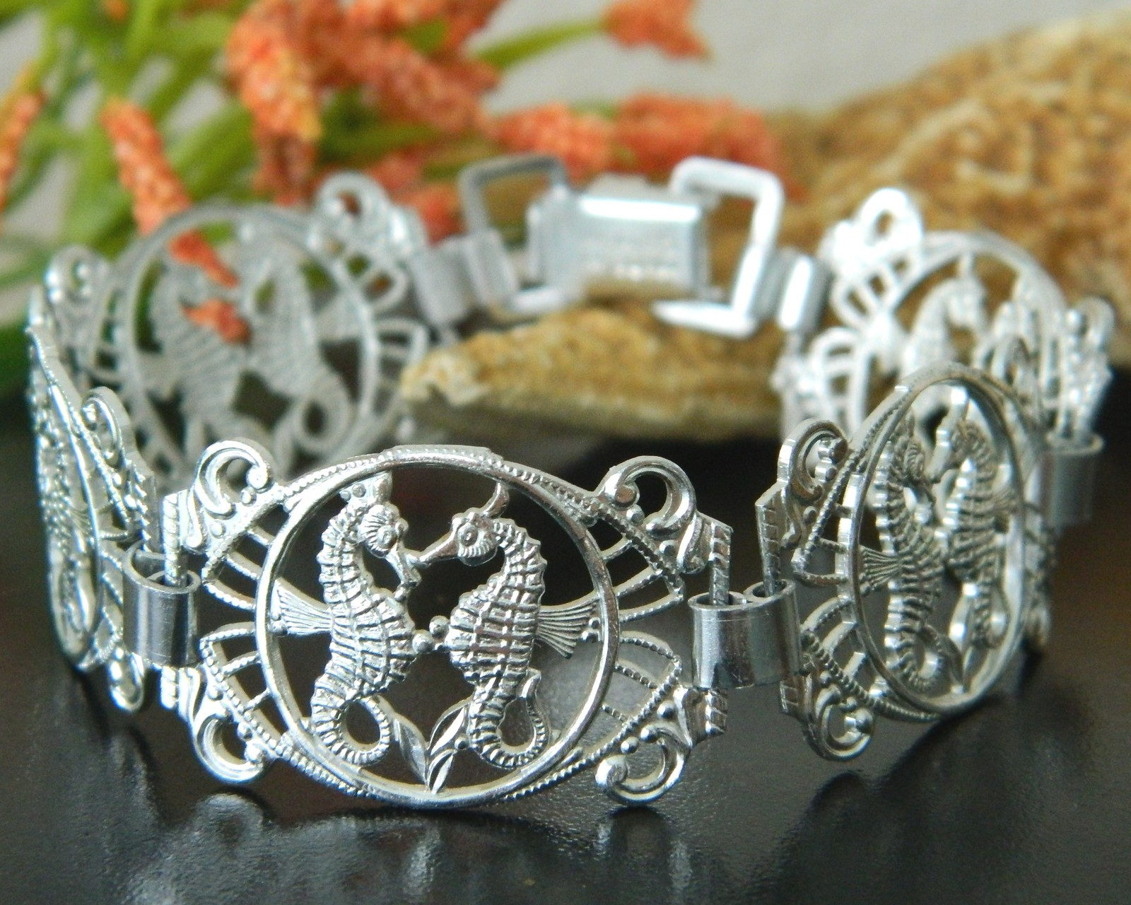 Primary image for Vintage Seahorse Tropical Panel Link Bracelet Silver Aluminum Germany