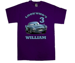 Cars Finn McMissile Personalized Purple Birthday Shirt - $16.99+