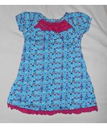 Hanna Andersson Polka Dot Flower Girls Dress 110 Size 5/6 Aqua Blue Pink... - $14.82