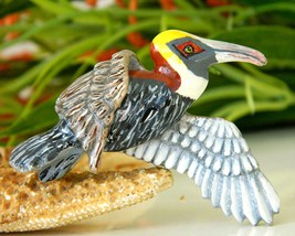 Vintage Flying Pelican Bird Painted Wood Brooch Pin Signed 1989 - $24.95