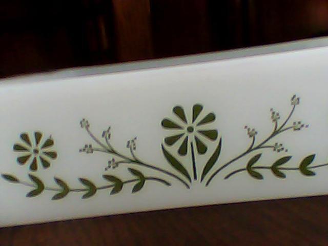 vintage glasbake jeannette milk glass casserole baking dish green floral daisy