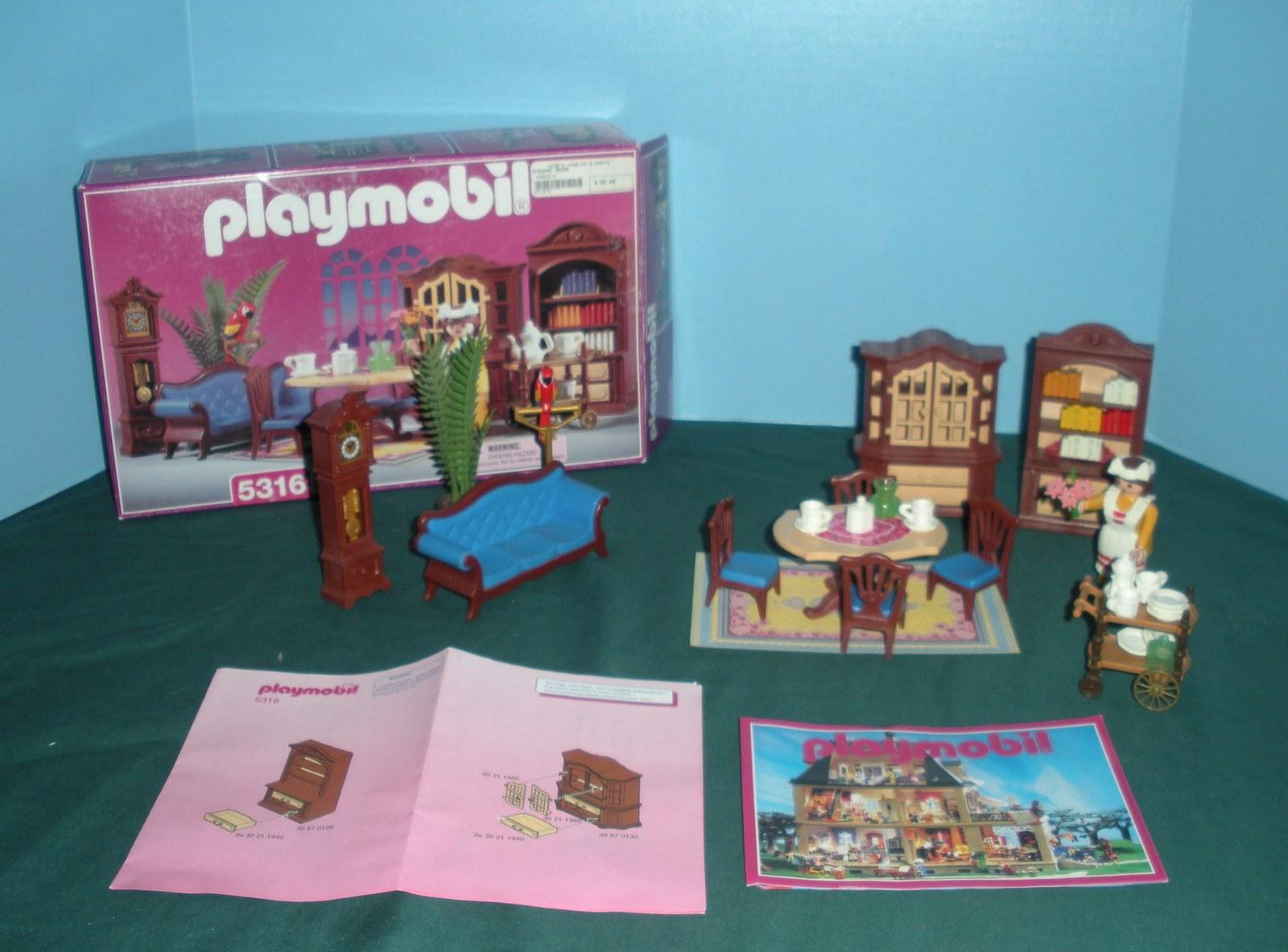 Vtg playmobil 5316 dining room 99 9 comp w box nr for Playmobil dining room 5335