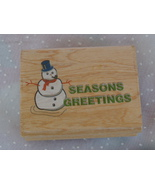 Seasons Greetings Snowman Rubber Stamp  - $1.99