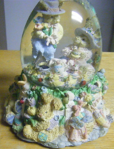 Musical Snow Globe 2 Bunnies at Picnic Plays Pu... - $17.99