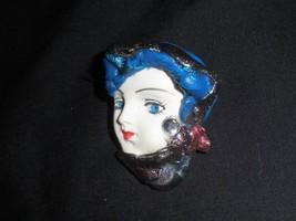 Vintage Pin Pretty Blue Eyed Lady Handcrafted Turban Scarf Ceramic - $5.69
