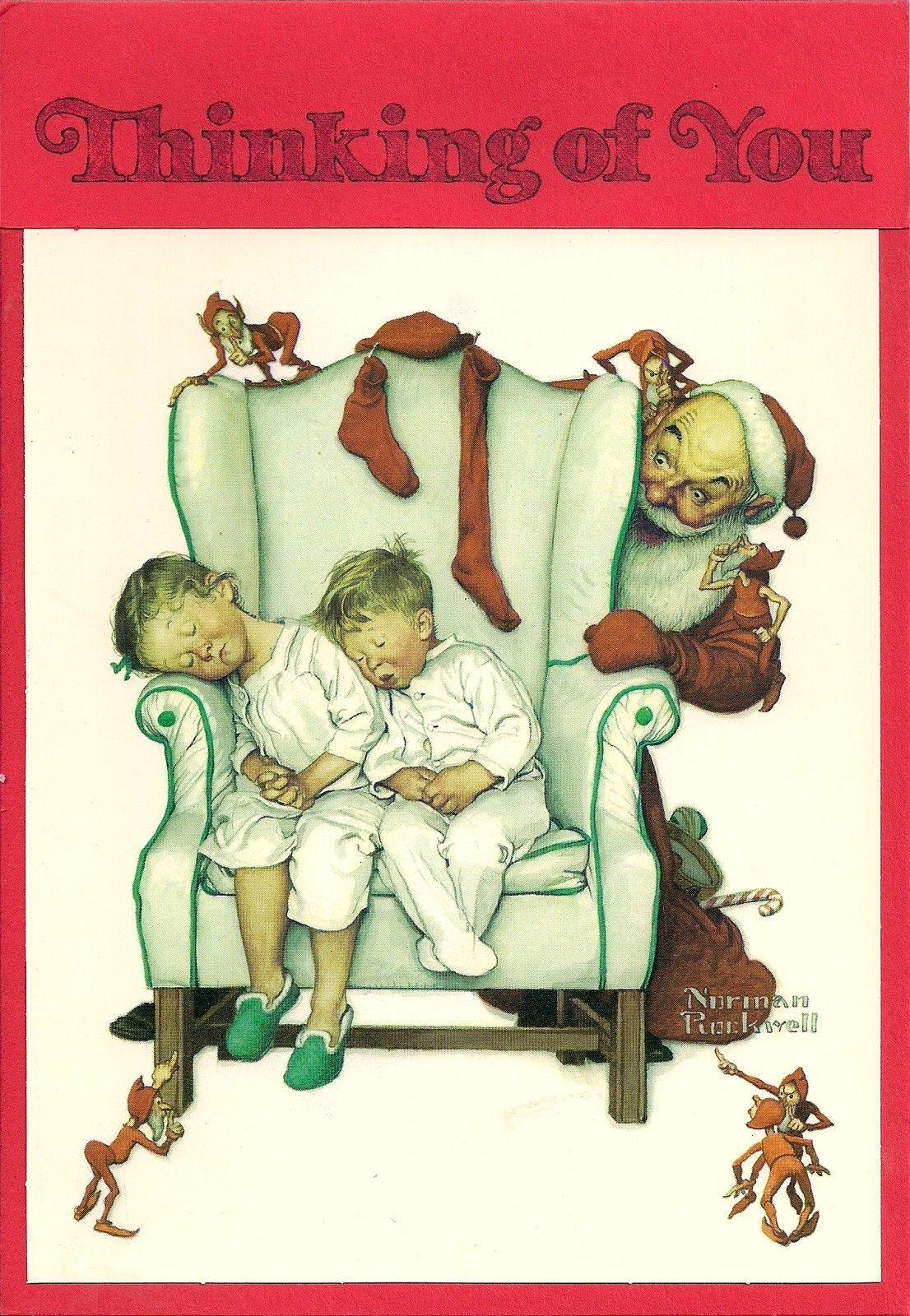 Vintage Hallmark Norman Rockwell Christmas Card Unused Children & Santa Estate