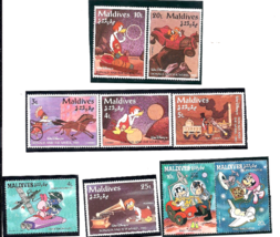 Vintage Disney Maldives Mickey Mouse Donald Stamps MNH in Mounts Estate - $4.99