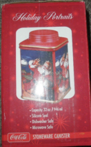 Coca Cola Stoneware Canister Cookie Jar 32 Oz Red Santa MIB from Estate - $10.49