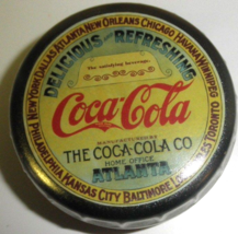 Coca Cola Tin in Shape of Bottle Cap from Home Office Atlanta 1996  Estate - $7.59