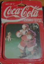 "Coca Cola 4 x 4"" Square Plastic Coasters 1992 Santa MIP Pkg Not Mint USA Estate - $5.99"
