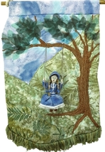 Girl on a Swing: Quilted Art Wall Hanging - $550.00