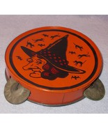 Old Vintage 1940's Tin Halloween Witch Tambourine Noise Maker - $125.00