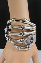 New silver metal skeleton hand cuff skull's face rhinestones - $29.99