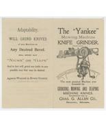 Allen Barre MA antique advertising brochure Yankee Mowing Machine Knife ... - $9.00