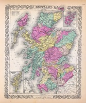 An item in the Home & Garden category: 1856 Colton map ATLAS poster of Scotland 72