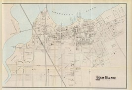 1878 antique map poster Genealogy Red Bank Monmouth NEW JERSEY SHORE 023 - $14.85