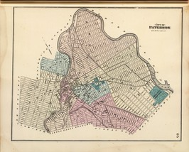 1872 antique map poster Beers Genealogy Paterson NEW JERSEY 015 - $14.85