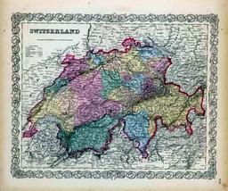 1856 Colton map ATLAS poster of Switzerland 82 - $14.85