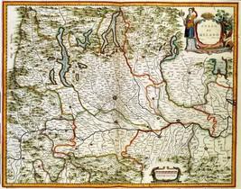 1640 antique MAP atlas poster Milan Italy antique Milano atlas old Blaeu... - $14.85