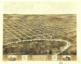 An item in the Everything Else category: 1869 MARENGO panoramic IOWA history county old map GENEALOGY atlas  poster IA17
