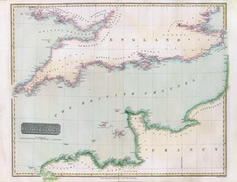 1817 THOMSON poster of antique map British Channel 015 - $14.85