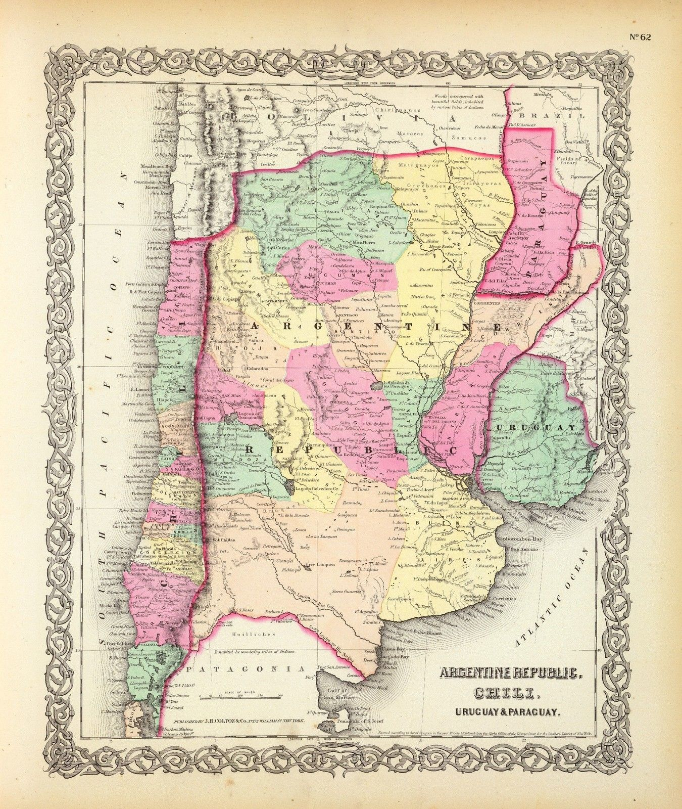 Colton Map ATLAS Poster Argentina Chili And Similar Items - Uruguay map atlas